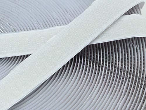 Klettband, selbstklebend, weiß, 20 mm breit, 25 m Haken