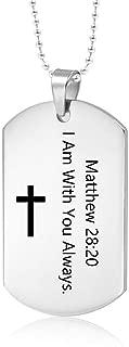 MEALGUET Stainless Steel Religous Scripture Quote Faith Christian Bible Verse Inspirational Cross Dogtag Pendant Necklace for Men