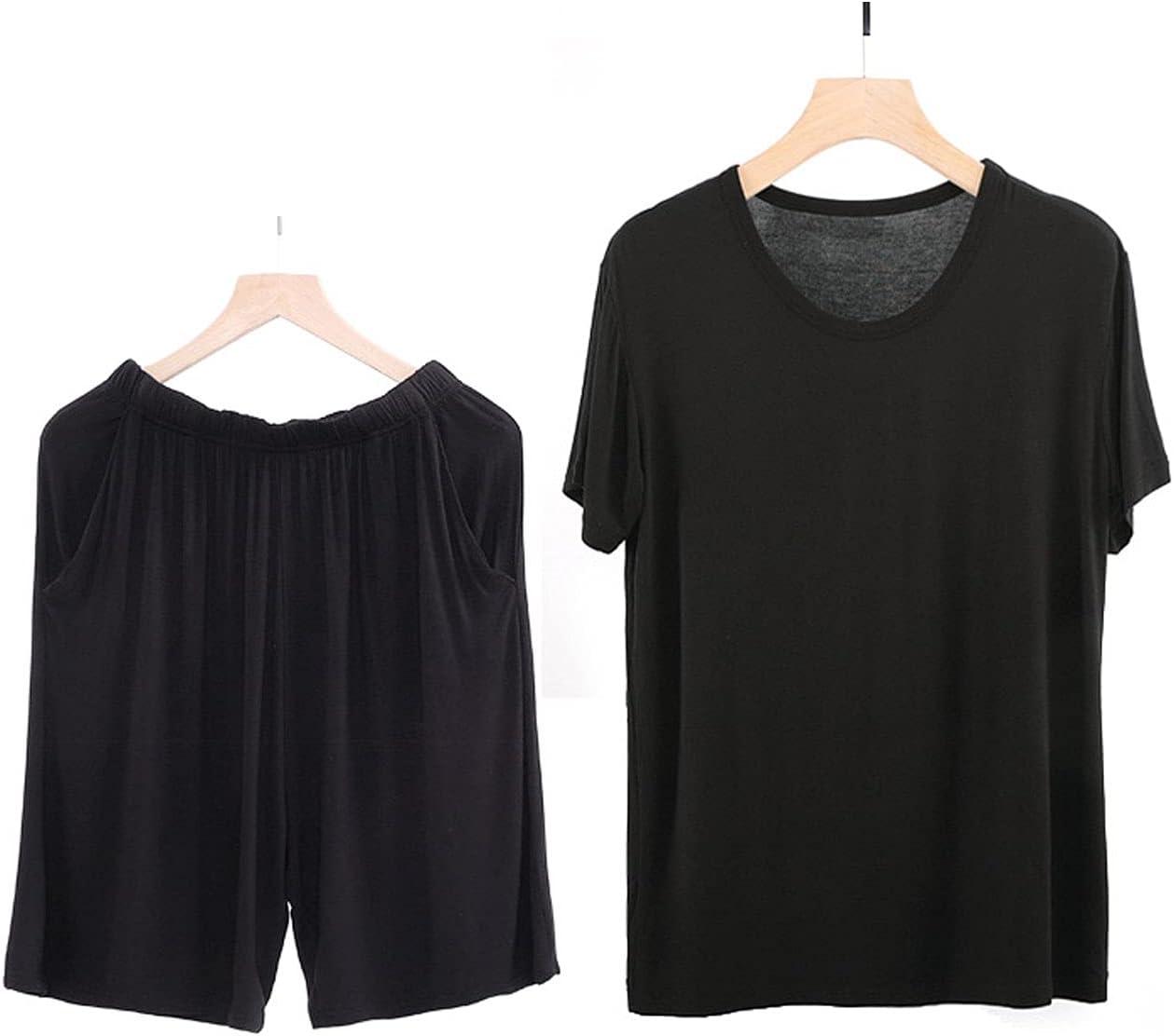 GTHTTT Men's Pajama Set Summer Short Sleeve Sleepwear Shirt Hidden Drawstring Shorts PJ Set 2 Piece Lounge Wear Loungewear