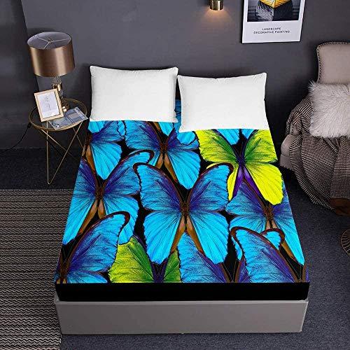 Hoeslakens met vlinderprint voor eenpersoons tweepersoons kingsize bed 3D-beddengoed Diepe zak 30 cm - Zachte microvezel, gemakkelijk te onderhouden-150x200x30cm_7