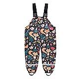 Lalaluka Pantalones de lluvia para niños, unisex, con peto para la lluvia, impermeables, resistentes al viento, transpirables y ajustables, forrados