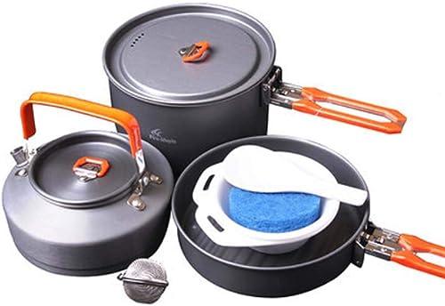 STRIDCJX Batterie de Cuisine ustensiles de Camping, Ensemble de Vaisselle de Cuisine de Camping de Tourisme en Plein air, Ustensiles Portatifs Cuisson Cuillère Cuillère Cuillère 2-3 Personnes