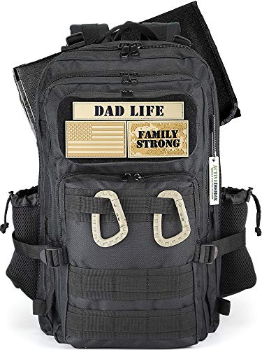 ACTIVEDOODIE Dad Diaper Bag Backpack with Changing Pad, Expandable Mens Diaper Bag for Dad, Black with Dad Life Patches