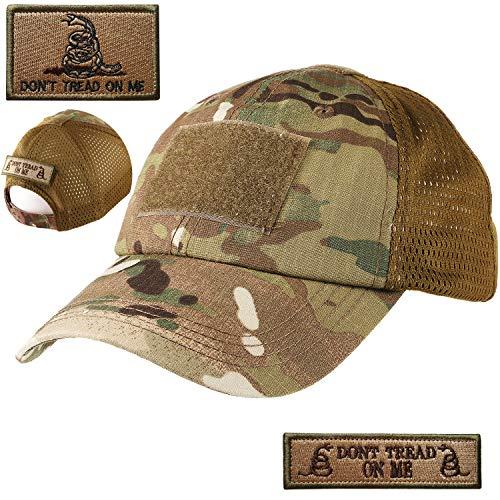 Lightbird Mesh Multicam Tactical Hat with 2 PCS Military Patches, Adjustable Operator OCP US Flag Baseball Hats Cap (Multicam/Camo)