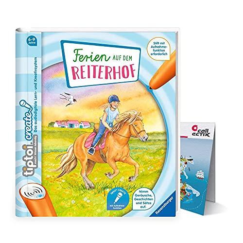 Ferien auf dem Reiterhof, Pferde | Ravensburger tiptoi Create Buch + Kinder Wimmel-Weltkarte 6-9 Jahre