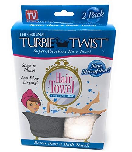 Turbie Twist Microfiber Super Absorbent Hair Towel (2 Pack) (Grey-Light Pink)
