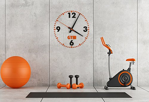 Laeacco Gym Equipment Backdrops 7x5ft Photography Background Fitness Room Home Gym Sport Bike Ball Wall Training Room Interior Clock Orange Bicycle Exercise Activity Lifestyle Healthy Gym Decor Banner