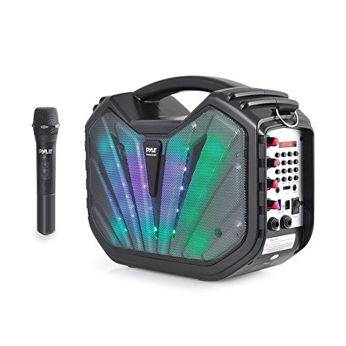 Portable PA Speaker System - BT Connectivity Compatible Battery Powered Rechargeable Outdoor Sound Speaker Microphone Set with MP3 USB SD FM Radio AUX, LED Dj Lights, Carry Handle - Pyle PWMA285BT