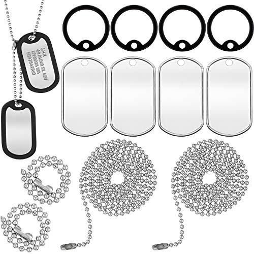 Weewooday 4 Pieces Military Dog Tag Silencer Silicone Round Rubbers Army Dog Tag Silencer Set Complete with 4 Steel Ball Chains & 4 Blank Dog Tags, Black