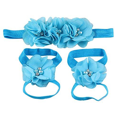 Sanwood bébé fille en mousseline Strass Pied Fleur Barefoot Sandales Bandeau Set bleu lac taille unique