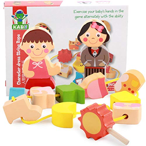 FSHB niños DIY Cuentas de Hilo de Madera Juguetes Montessori Juguetes educativos tráfico Cuerda Pulsera Hacer Juguete para niños