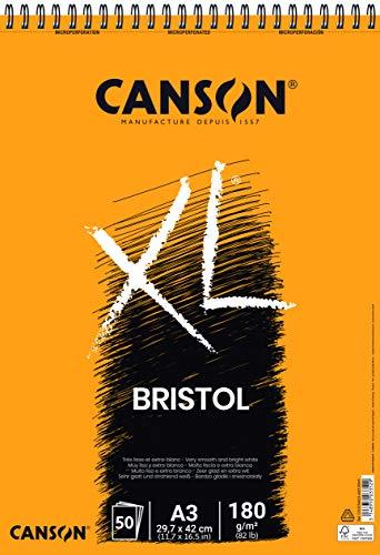 Canson Álbum Espiral A3 50H XL Bristol Extraliso 180g, Blanco