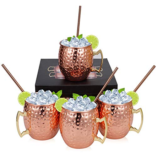 Set of 4 Copper Hammered Moscow Mule Mugs Drinking Cup with 4 Copper Straws, Great Dining Entertaining Bar Gift Set