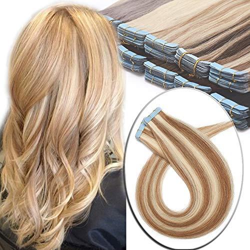 Elailite Extensiones Adhesivas 100% Remy Cabello Humano Pelo Natural [2.5g *20 Unidads] 50g - 40 cm #12P613 Castaño Dorado Mecha Rubio Muy Claro - Tape in Hair Extension Lisa