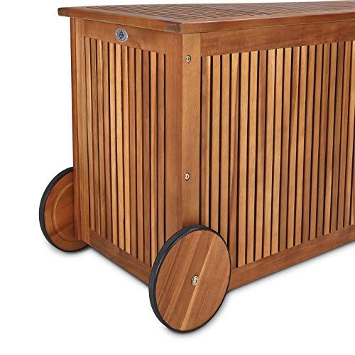 Gartentruhe Auflagenbox mit Rädern 117cm Akazie - 4