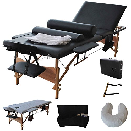"""Reinforcement 84""""L Portable Folding Professional Massage Table Bed, Adjustable Massage for Salon Beauty Physiotherapy Facial SPA Tattoo Household(3 Section, Black)"""