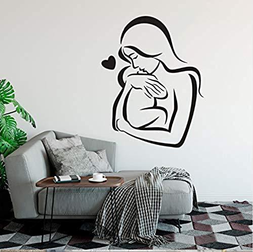Muursticker PVC Baby en Moeder Muurdecoratie Kinderkamer Decor Familie Liefde Muursticker Moeder Knuffels Baby met Liefde Muur Muren 54Cmx42Cm