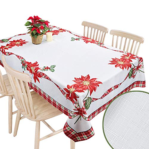 Christmas Tablecloth Festive Poinsettia Rectangle Red Flower Table Linens Ribbon Xmas Holly Holiday 60x102 Thanksgiving Oblong New Year Winter Dining Floral Print Checkered Country Plaid White