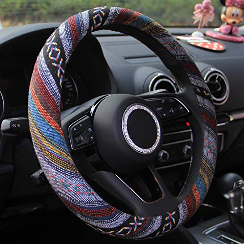 15 inch New Baja Blanket Car Steering Wheel Cover Universal Fit Most Cars Automotive Ethnic Style Coarse Flax Cloth