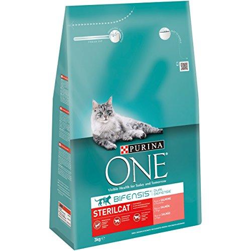 Purina One - Gatos Esterilizados rico en Salmón y Trigo, 3 Kg ✅