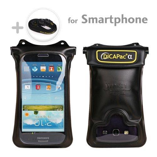 DiCaPac (Digital Camera Pack) WP-C1 (One) - schwarz - Wasserdichte Hülle für große Smartphones/Handys - Samsung Galaxy S4 S3, Google Nexus 4, HTC One, HTC DROID DNA, HTC 8X, Sony XPERIA TL, MOTOROLA DROID RAZR MAXX, LG Optimus G, BlackBerry Z10...