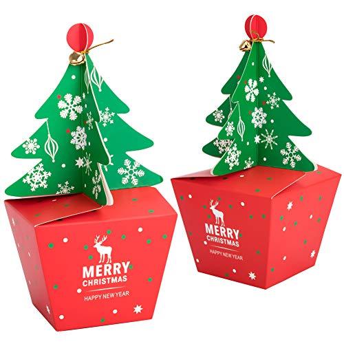 20 cajas de regalo navidad con 20 piezas de arco y 20 piezas de campanas, cajas papel caramelo juego...