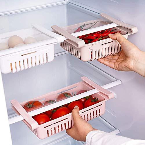 JRFWD Kühlschrank Schubladen Organizer Einstellbare Lagerregal Kühlschrank Partition Layer Organizer Ausziehbare Kühlschrank Schublade Organizer Kühlschrank Aufbewahrungsbox,Pink,4Stück