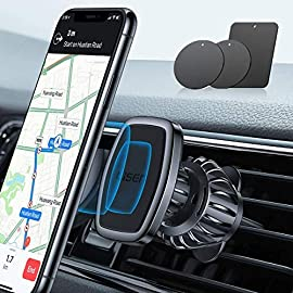"Lisen car phone holder mount, [upgraded clip] magnetic phone car mount [6 strong magnets] cell phone holder for car… 1 👍upgraded clip: this air vent phone holder is designed as ""hook shape"" and form ""three grasp points"" which can vise the outlet blades tightly and ensure it never fall off in any situation. The air vent phone holder is borned for innovation & practicability, it solving the market's common problem of being easy to fall off over time. 👍lock your phone firmly: lisen magnetic phone car mount with 6 built-in strong magnets, the maximum bearing up to weight of 4 cellphones. Powerful suction keep your cellphone stay stably even when drive on a bumpy road. Please note:it is recommend that use the ""square pad"" on the back of your phone/case. It is more stable than the round 👍easy installation: benefit from the special design of the clamp, this car magnetic phone holder is quite easy to install, just need to put it on the car's outlet blades and adjust the length of clamp by turning the knob to match the outlet. Then finish the installation."