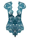 Amorbella Womens Snap Crotch Teddy See Through Lingerie Sexy Bodysuit (Peacock Blue, Small)