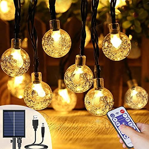 Catena Luminosa Esterno Solare & USB 17M 100 Led Luce Stringa Solari Impermeabile IP65 8 Modalità Lucine Solari Decorative Cristallo per Giardino Matrimonio Festa Natale con Telecomando (Bianco Caldo)