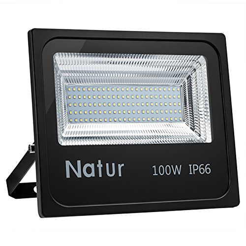 100W Foco led exterior,Led Proyector para Exterior Iluminación Decoración alto brillo 10000LM IP 66,3000K blanco Cálido,luz led para Jardín, Garaje, Bodega y Patio