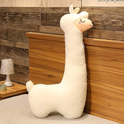 Heguowei 75-130cm Riesen Kawaii Alpaka Plüschtiere Sofa Dekor Weiche Schöne Schafskissen Kuscheltiere Puppen für Kinder Mädchen Geburtstagsgeschenke Weiß 75cm