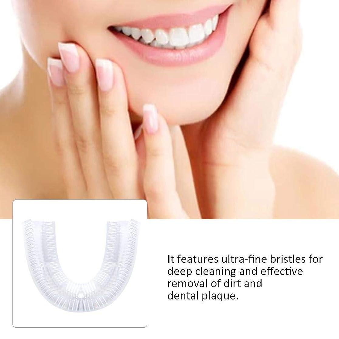 叱るスズメバチ過激派PUERI U型シリコーン歯ブラシ 電動歯ブラシ 360°全方位 ホワイトニング 白い歯 シリコンブラシヘッド 口臭防止 歯周病防止 食べカス取る歯健康守り 歯間洗浄器