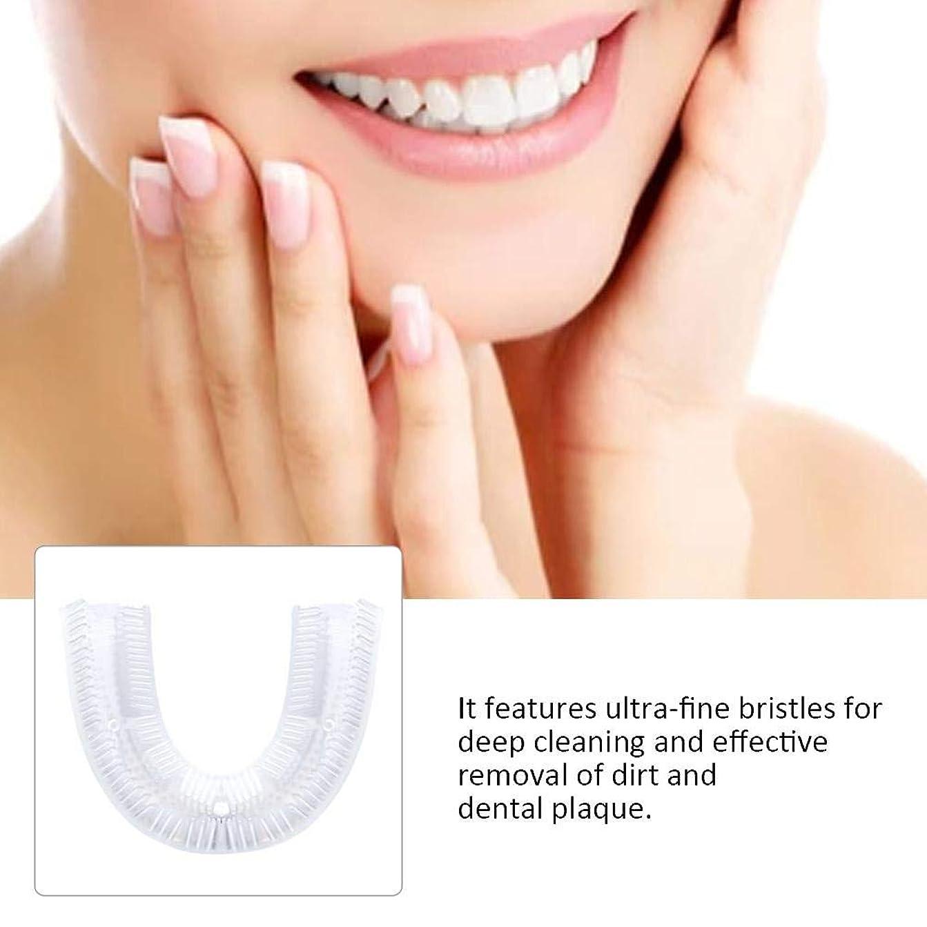 人質別に石膏PUERI U型シリコーン歯ブラシ 電動歯ブラシ 360°全方位 ホワイトニング 白い歯 シリコンブラシヘッド 口臭防止 歯周病防止 食べカス取る歯健康守り 歯間洗浄器