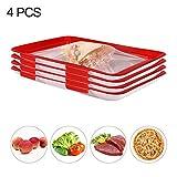Lebensmittelkonservierungsschale, wiederverwendbarer Kunststoff-Aufbewahrungsbehälter für gesunde Lebensmittel Elastische Filmschnalle Vakuumversiegelung für die Konservierung Lebensmitteln (rot) (4)