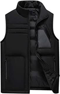 Vest Men Autumn Winter Padded Thick Hooded Solid Waistcoat Outwear Jacket Tops Beautyfine