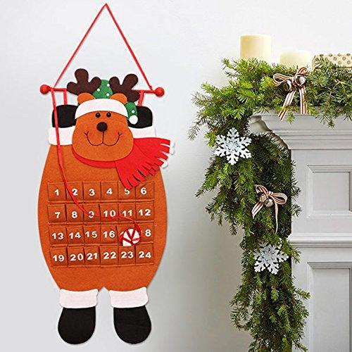 Bluelover Navidad 2018 Adviento Calendario Arte Santa Claus Muñeco De Nieve Colgante Decoración Navidad Colgante Ornamento - Marrón