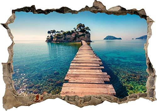 Pegatinas de pared Naturaleza hermoso lago montañas puente 3D calcomanía pared pegatina cartel vinilo S167 50x70 cm