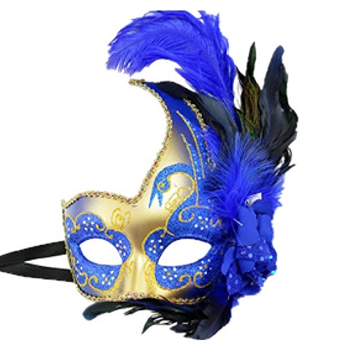 Storm buy] Women Lady Girls Costume Venetian mask Feather Masquerade Mask Halloween Mardi Gras Cosplay Party Masque Blue