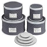 mDesign Juego de 4 cajas de embalaje para vajilla – Organizador de platos para...
