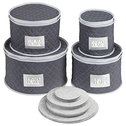 mDesign Juego de 4 cajas de embalaje para vajilla – Organizador de platos para cubrir y transportar vajilla para 12 personas – Sistema de almacenaje con protectores de fieltro – azul marino/gris