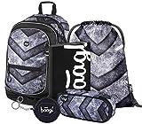 Schulrucksack Set 5 Teilig für Jungen, Schultasche ab 3. Klasse, Grundschule Ranzen mit Brustgurt, Ergonomischer Schulranzen (Gate)