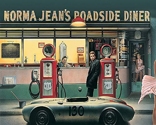 Picture Peddler Destiny Highway by Chris Consani James Dean Marilyn Monroe Humphrey Bogart Gas Station Norma Jean's Roadside Diner Art Print Poster (16x20 Print)