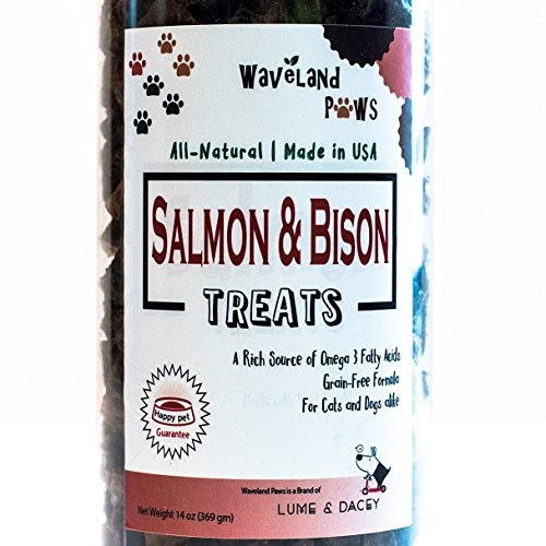 Waveland Paws All-Natural Salmon and Bison Pet Treats, No Wheat Gluten Soy Corn Grains, Made in USA, 14 oz. Jar