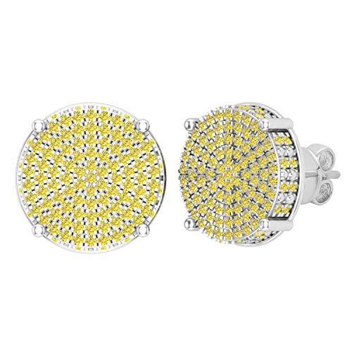Dazzlingrock Collection Pendientes de tuerca redondos de 0,50 quilates de diamante amarillo redondo con forma de círculo pavé de clúster para mujer de 1/2 quilates, oro blanco de 14 quilates