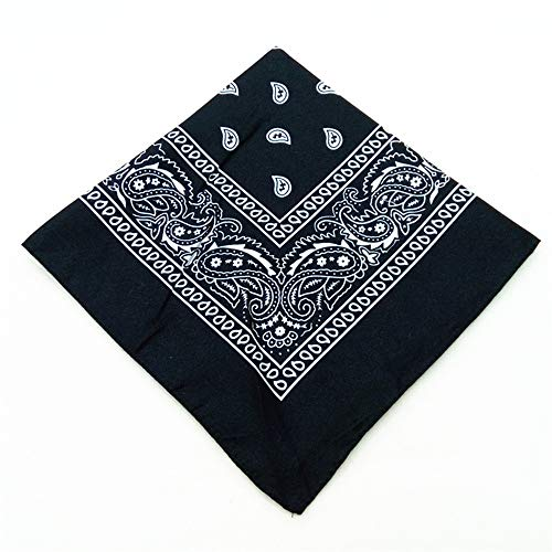 HLAA Moda Paisley Bandana Multifuncional Algodón Impreso Hip Hop Bandana Unisex Pañuelo Pulsera (Black)