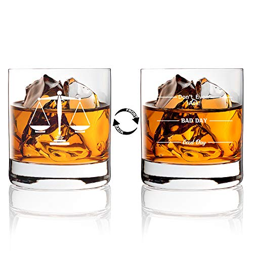 Funny Lawyer Whiskey Glasses, Double sided Good Day Bad Day Don't Even Ask Lawyer Whiskey Glasses, Birthday Gifts For Paralegal, Attorney, Legal Assistant, or Law Student, Lawyer Gifts, Cute gag gift