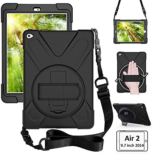 ZenRich iPad Air 2 case (2014 Release), zenrich Heavy Duty Carrying Protective 9.7 inch Air 2 Case with 360 Degree Rotatable with Kickstand, Hand Strap and Shoulder Strap for Kids A1566 A1567
