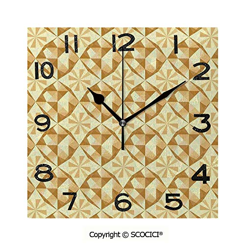SCOCICI 8 inch Square Clock Linked Unusual Patterns in Antique Style Retro...