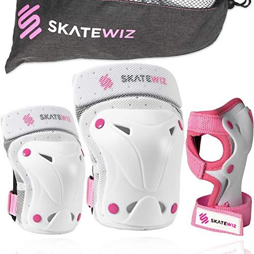 SKATEWIZ Protect-1 geprüfte Inliner Schutzkleidung - Größe XS in ROSA - Knieschutz Einrad - Schutzset
